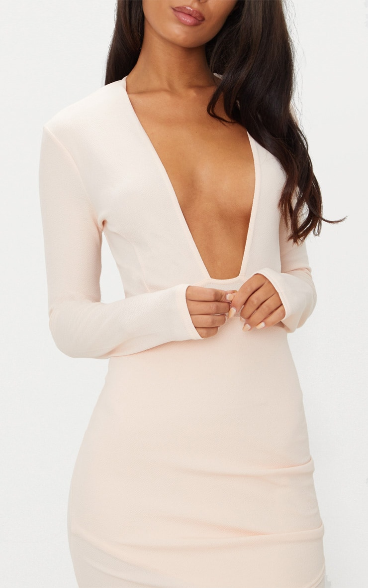 Nude Plunge Cut Out Back Wrap Skirt Bodycon Dress 5