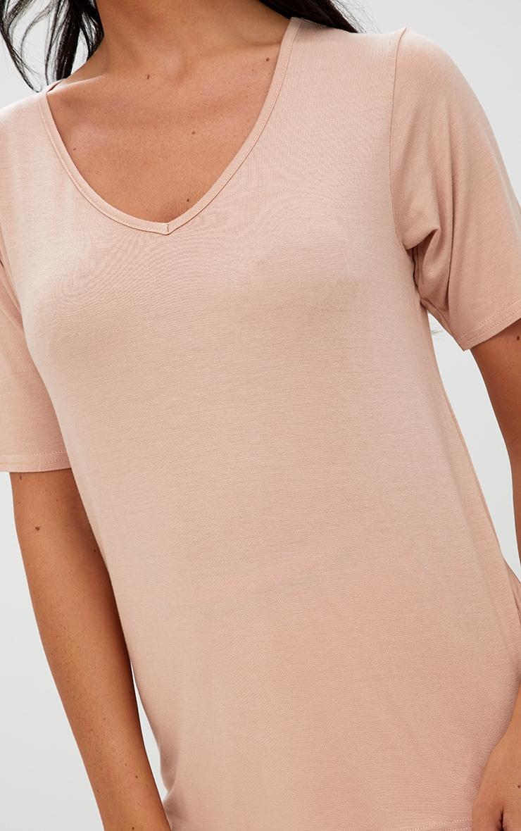 Basic White & Nude 2 Pack V Neck T Shirt   9