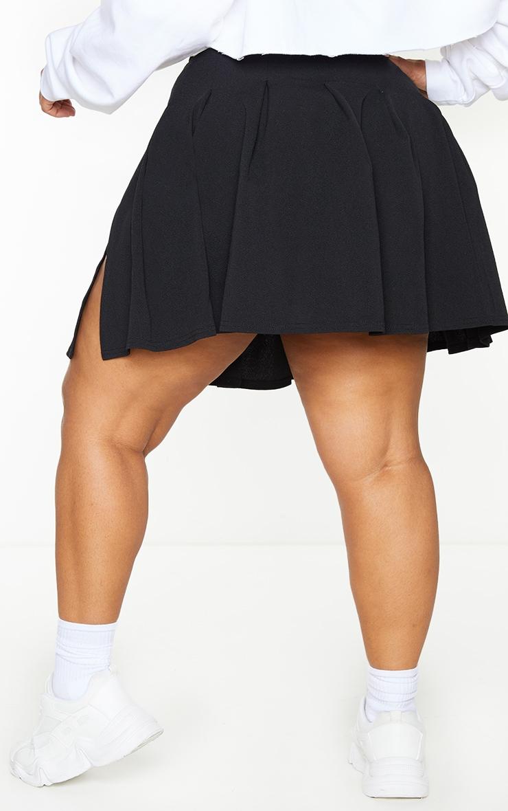 PLT Plus - Jupe de tennis noire plissée & fendue 3