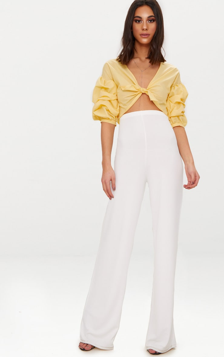 Yellow Woven Knot Front Puff Sleeve Crop Top  4