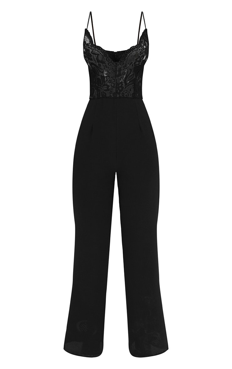 Black Lace Wide Leg Jumpsuit 3