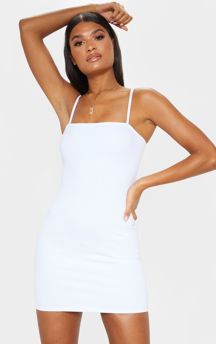 Desri White Straight Neck Bodycon Dress 4