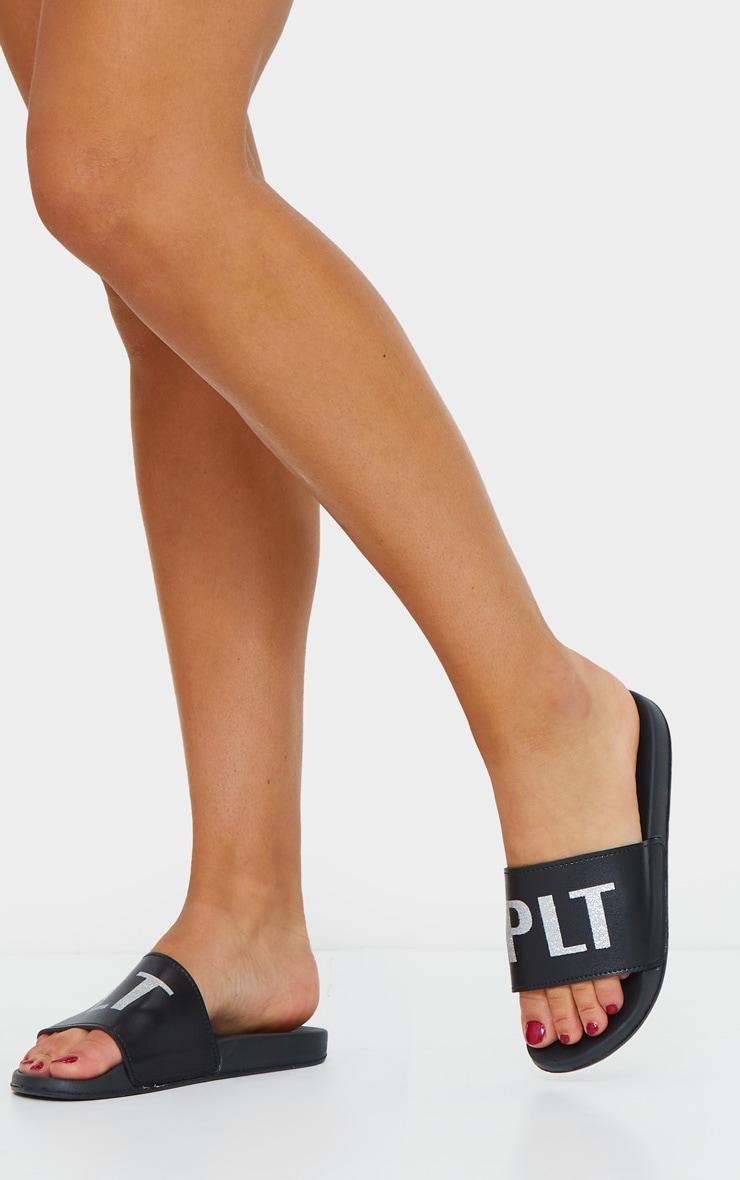 PRETTYLITTLETHING Black Glitter PU Sliders 2