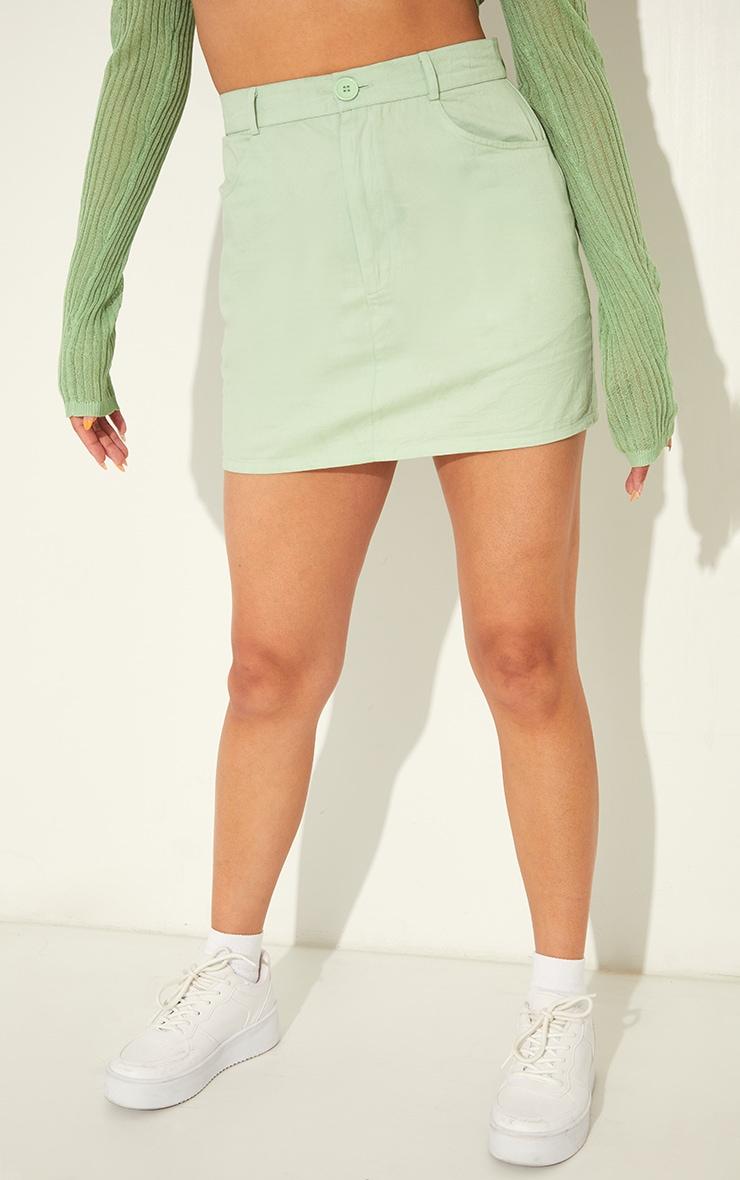 Pale Lime Linen Look Split Hem Mini Skirt 2