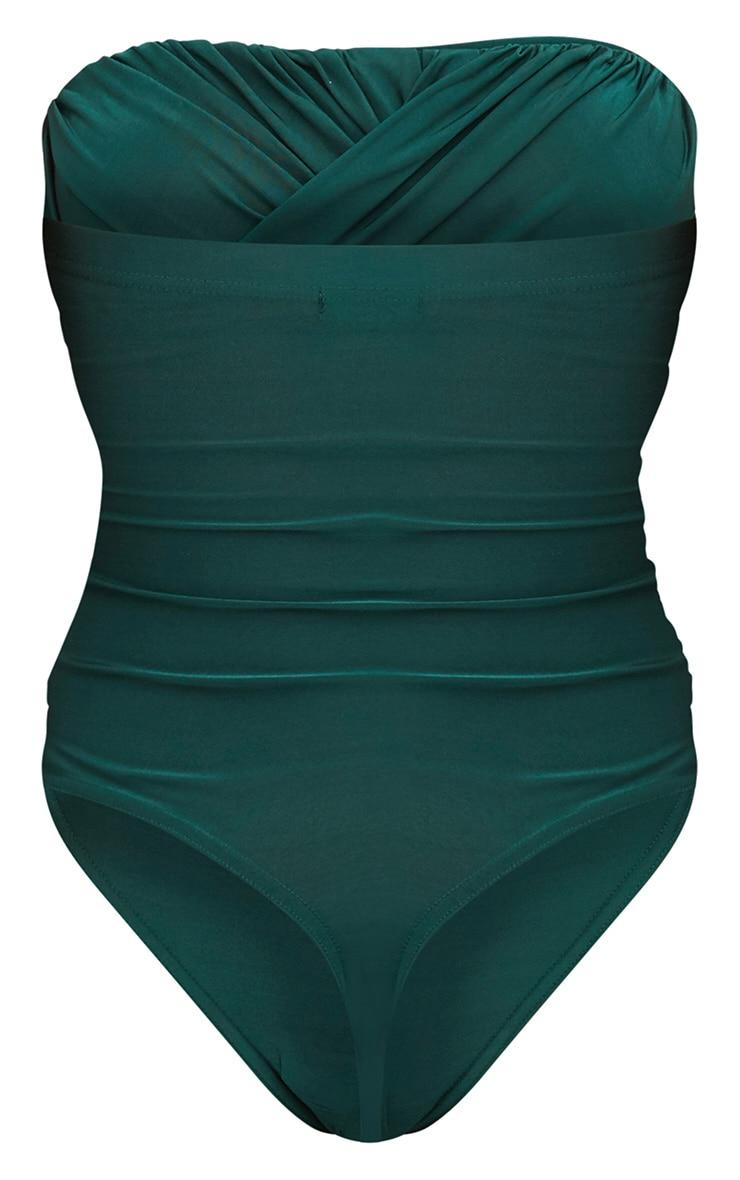 Bottle Green Slinky Draped Bandeau Thong Bodysuit 4