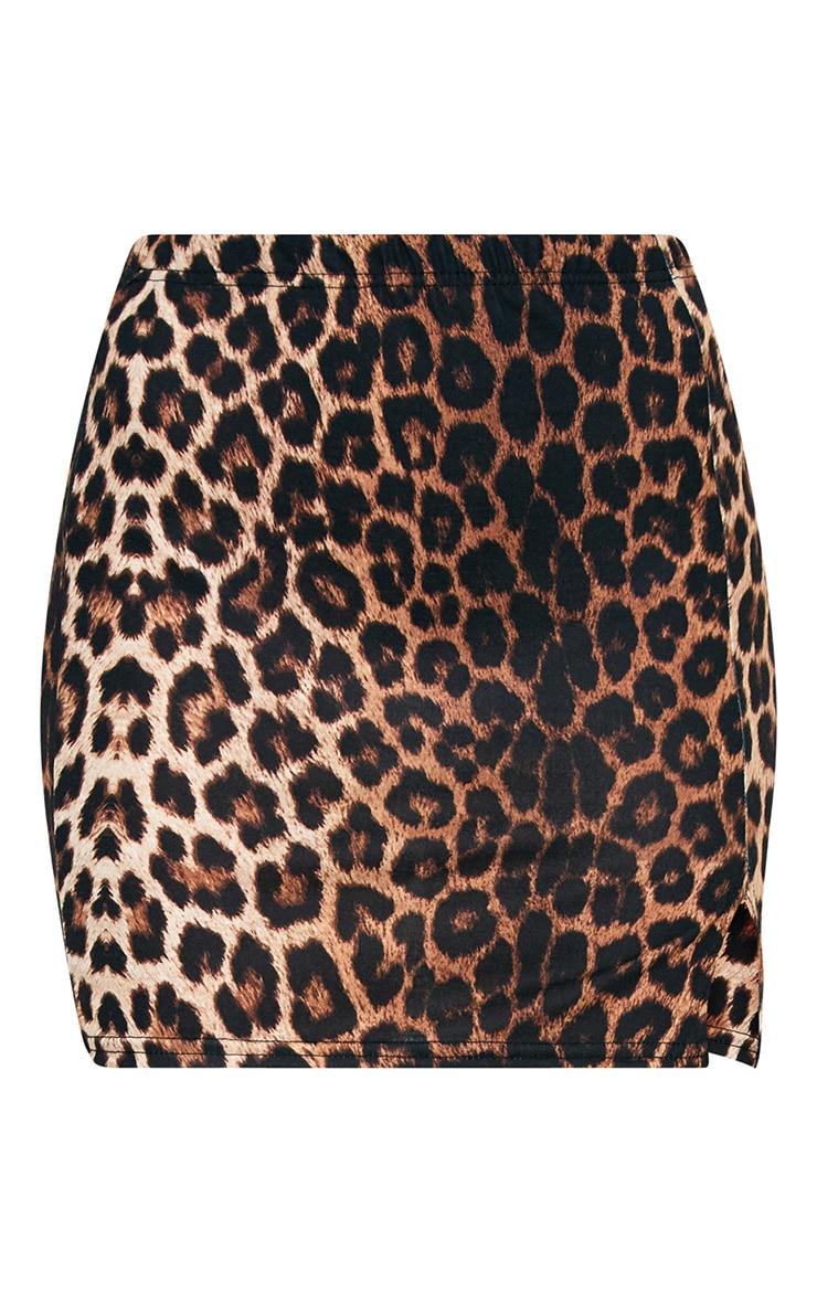 Brown Leopard Print Split Mini Skirt 3