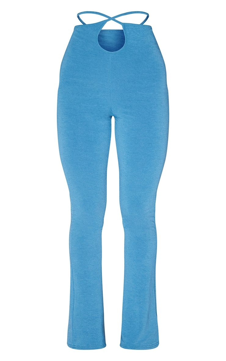 RECYCLED Mineral Blue Contour Jersey Tie Waist Flared Trousers 5