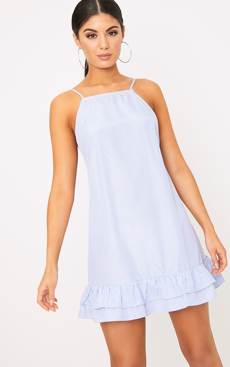 Blue Striped Square Neck Frill Hem Shift Dress