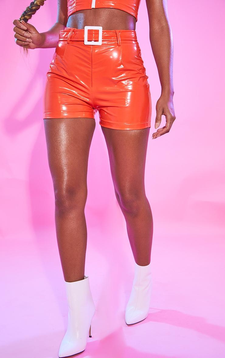 Orange Vinyl Belted Waist Shorts 2