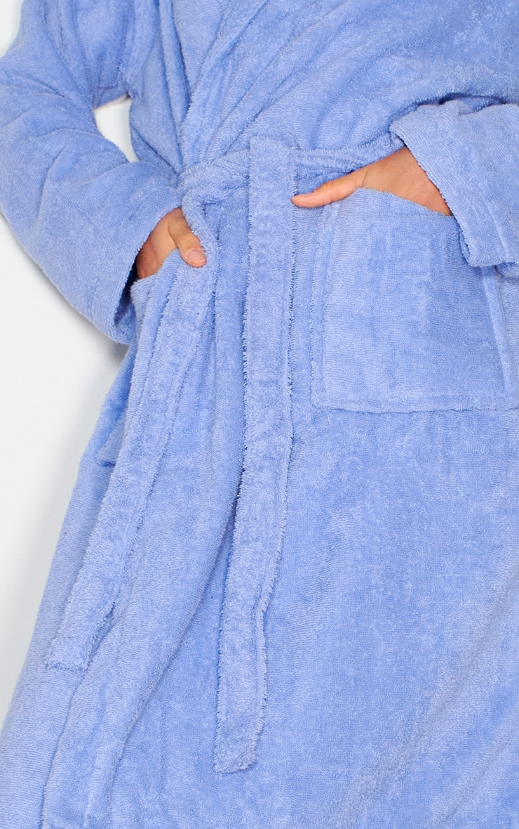 Blue Towelling Tie Waist Dressing Gown 4