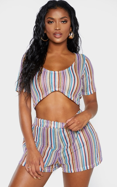 Shape Multi Striped Crochet Hot Pants