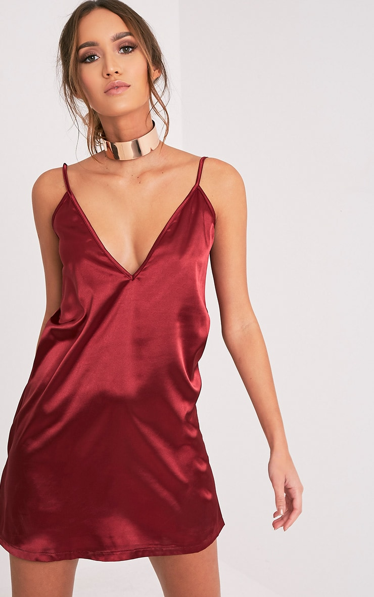 Erin Burgundy Plunge Satin Slip Dress 1