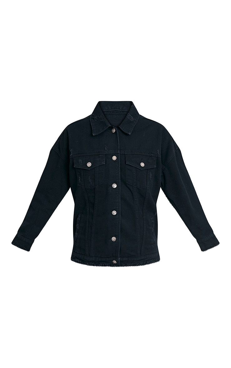 Aymeline veste en jean surdimensionnée aspect vieilli noire 3