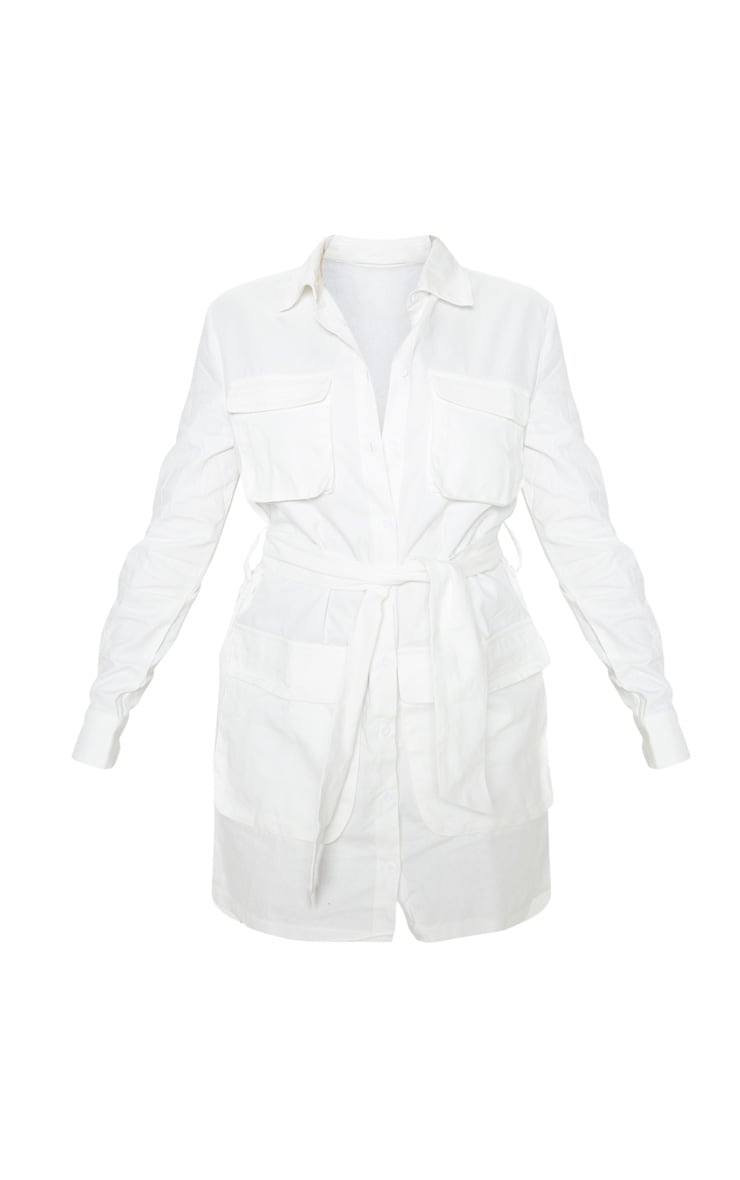 Petite White Utility Tie Waist Shirt Dress  3
