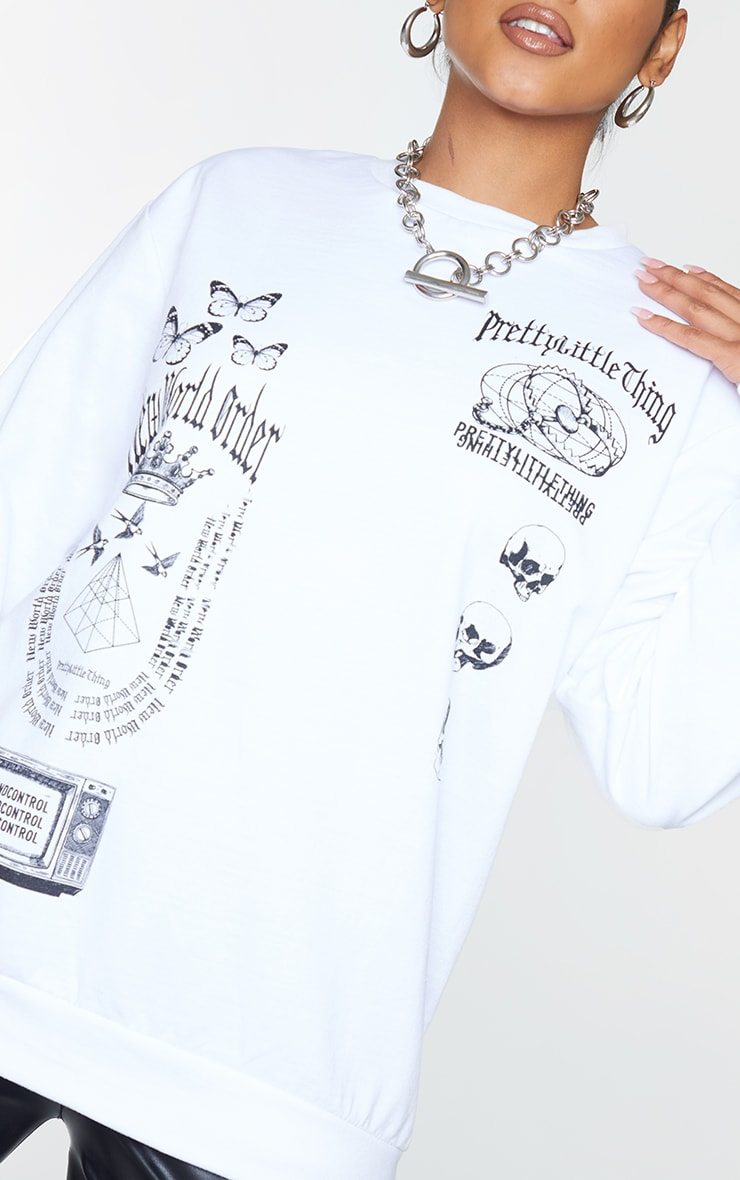 PRETTYLITTLETHING White New World Order Printed Sweatshirt 4