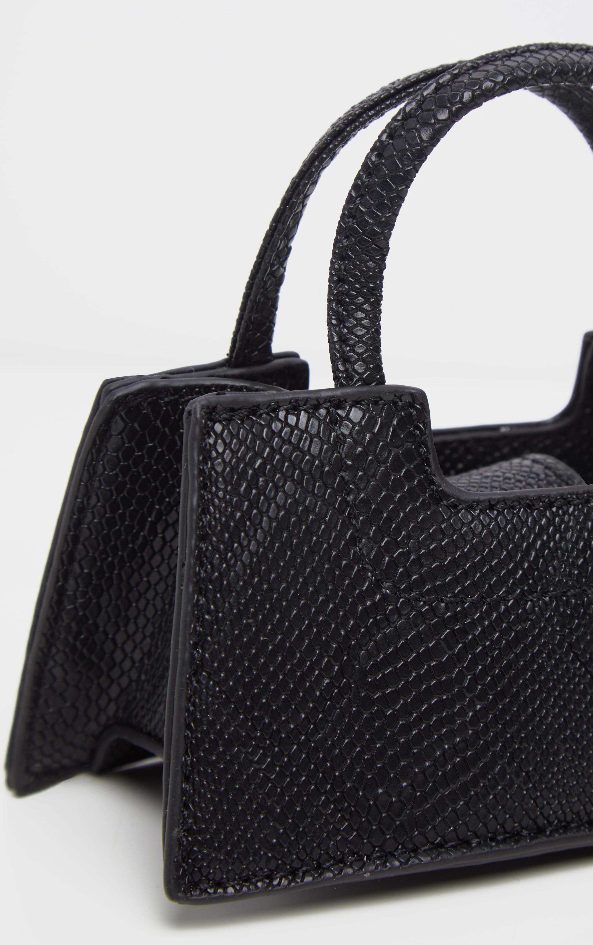 Black Croc Trapeze Micro Mini Bag 4