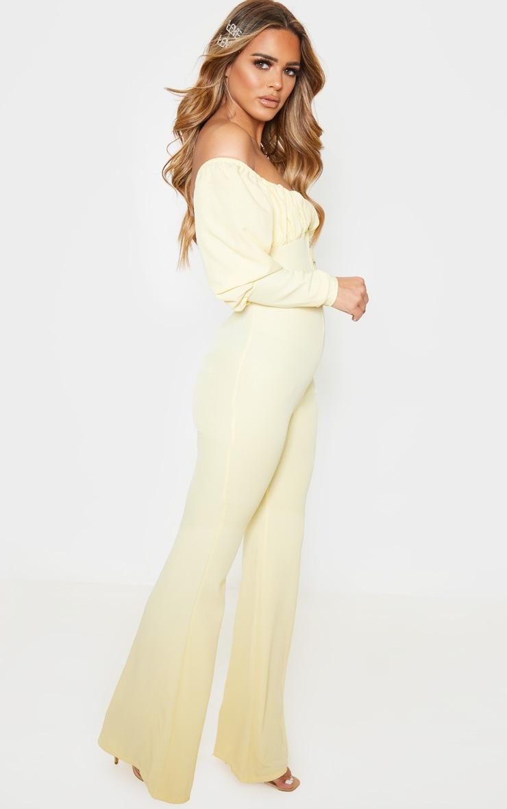 Petite Lemon Yellow Ruched Long Sleeve Flare Leg Bardot Jumpsuit 4