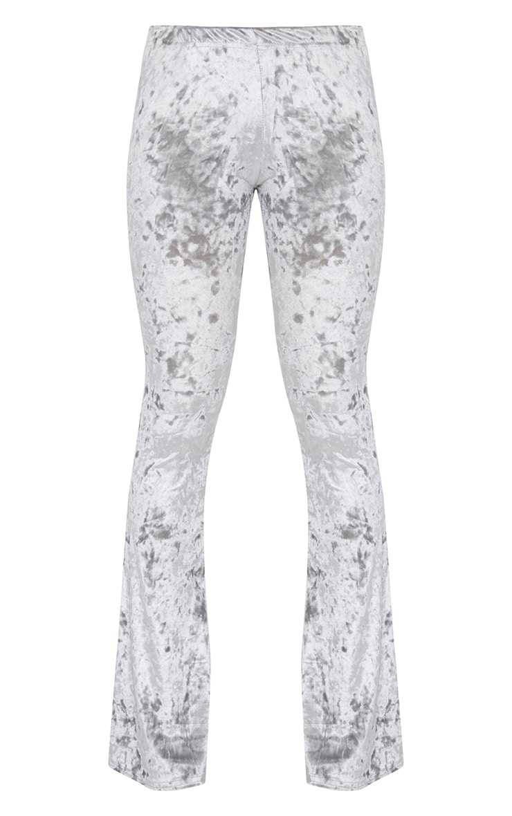 Petite Silver Velvet Flared Trousers 3