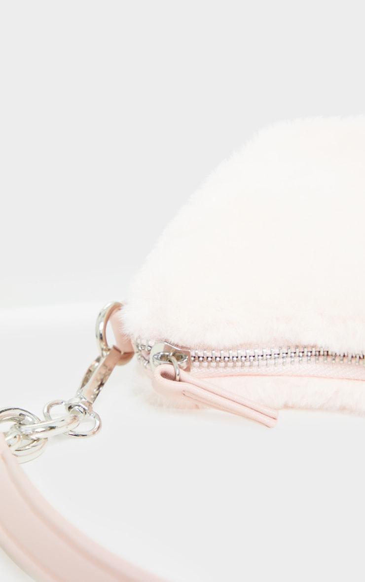 Pink Faux Fur Silver Chain Shoulder Bag 4