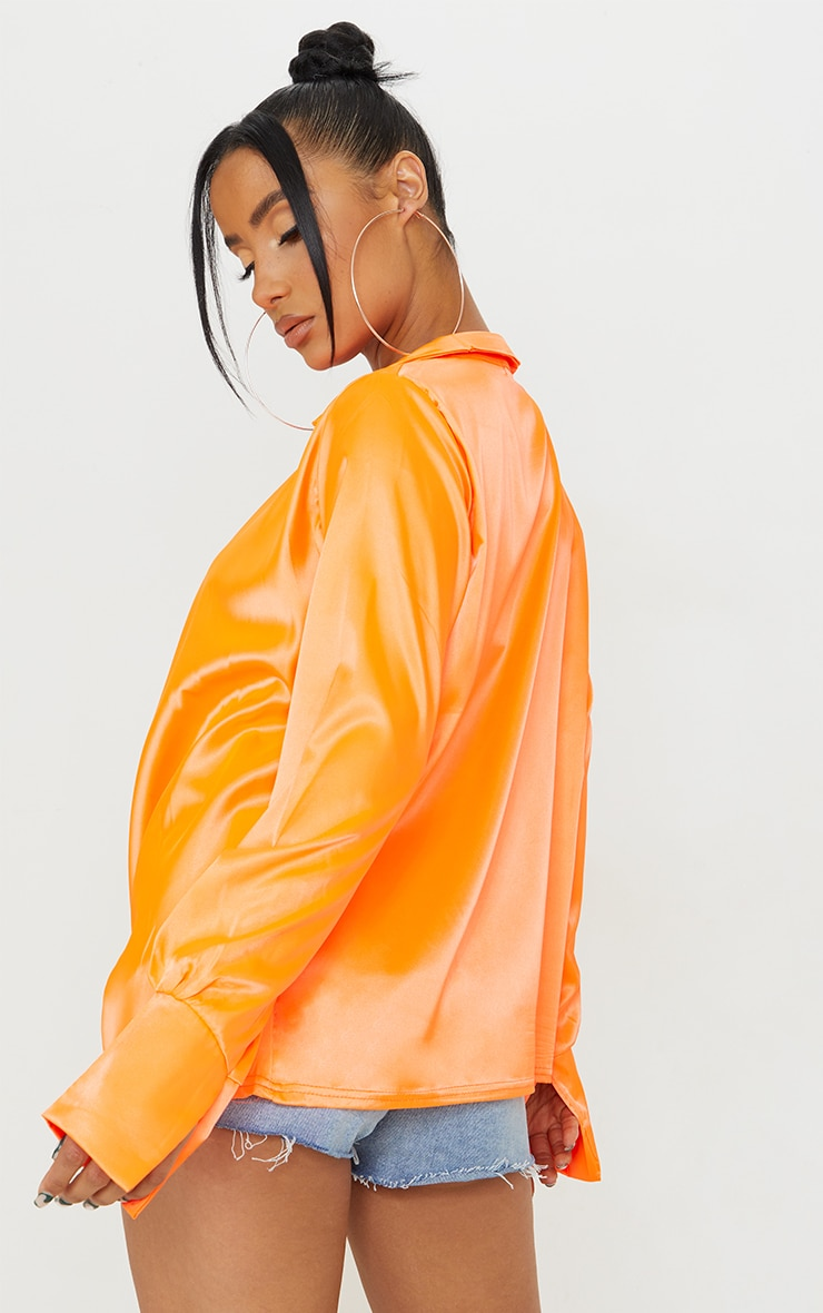 Hot Orange Extreme Cowl Long Line Satin Shirt 2