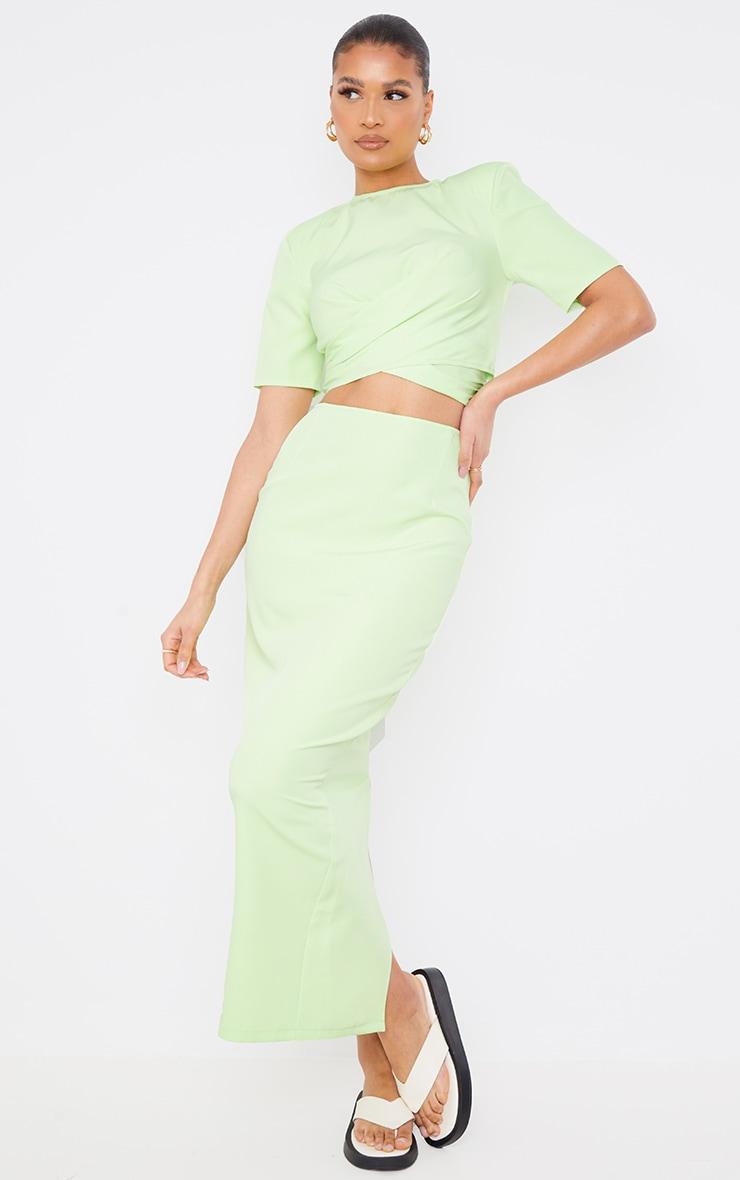 Lime Woven Split Back Maxi Skirt 1