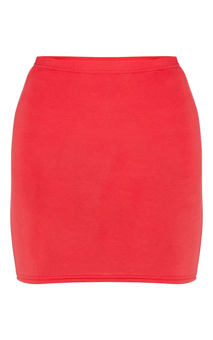 Mini-jupe rouge basique en jersey 3