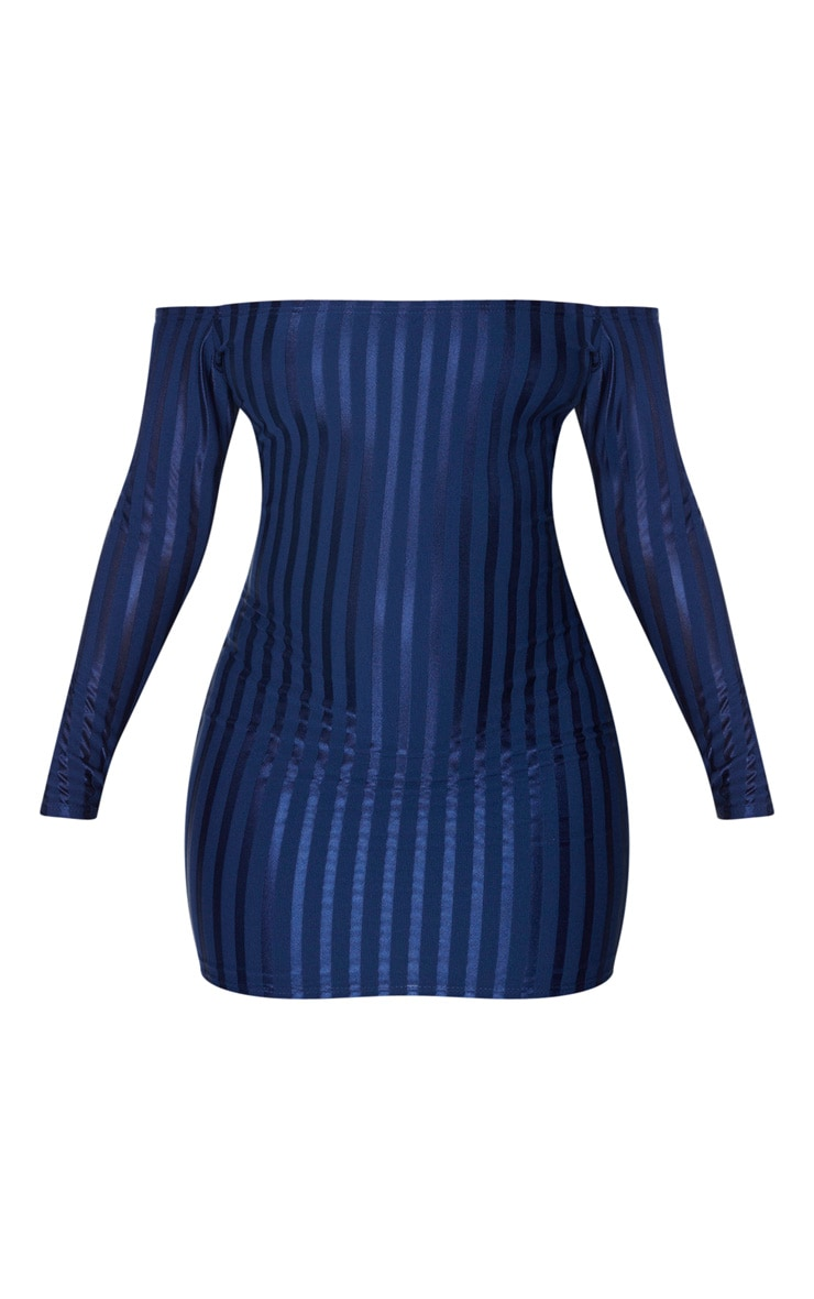 Navy Satin Stripe Detail Bardot Bodycon Dress 3