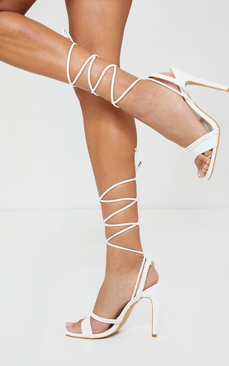 White PU Square Toe Lace Up High Heeled Sandals 1
