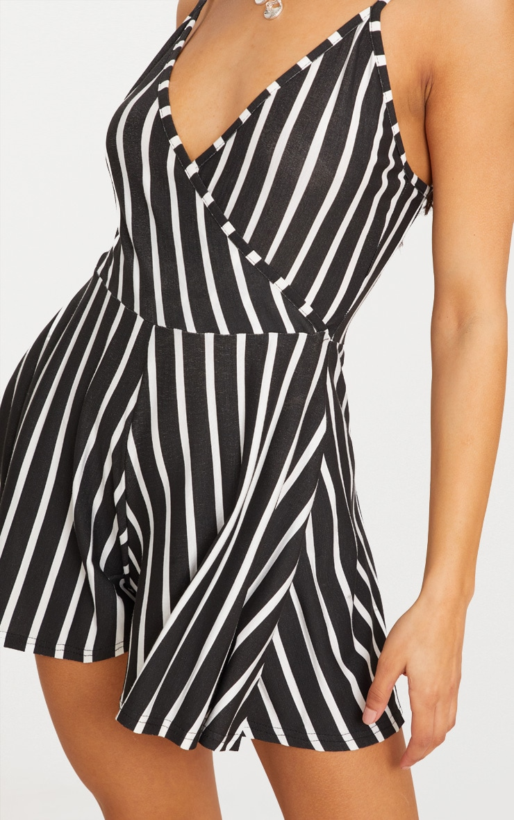 Black Stripe Strappy Wrap Playsuit 5