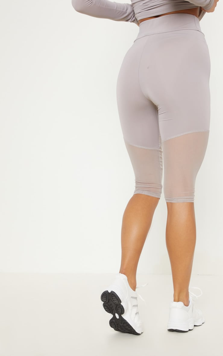 Grey Basic Mesh Insert Gym Legging 4