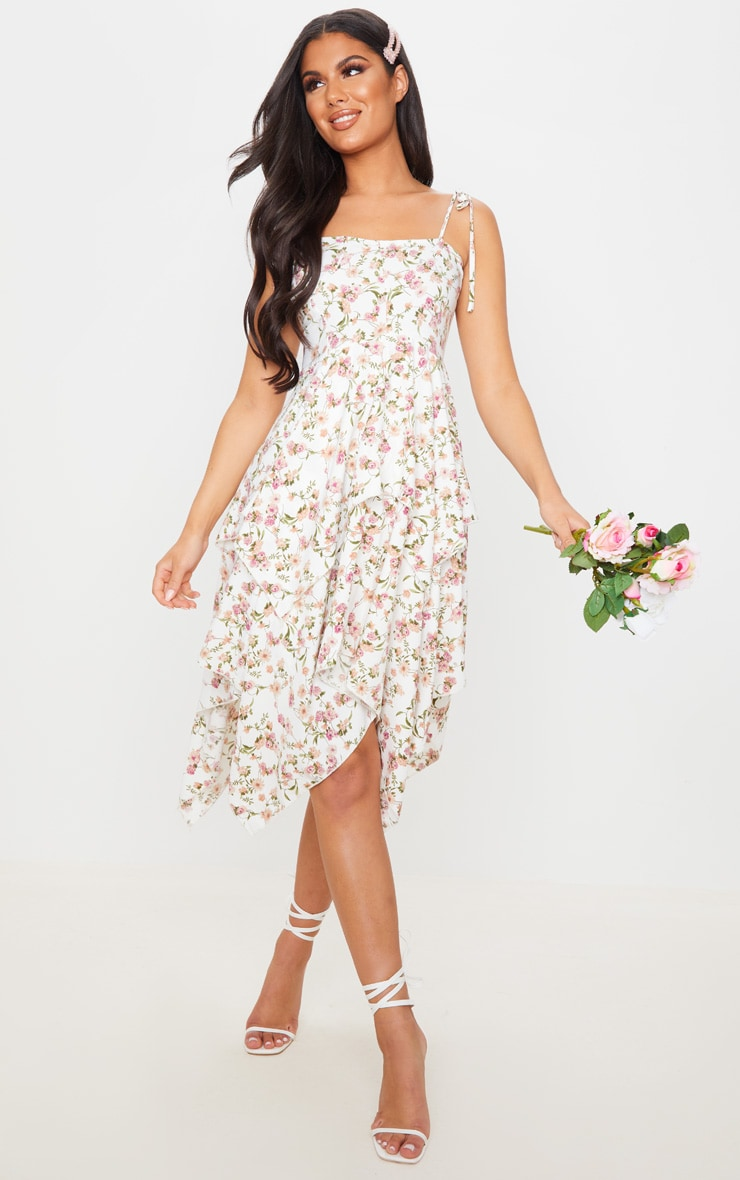 White Floral Print Cup Detail Tiered Midi Dress 1