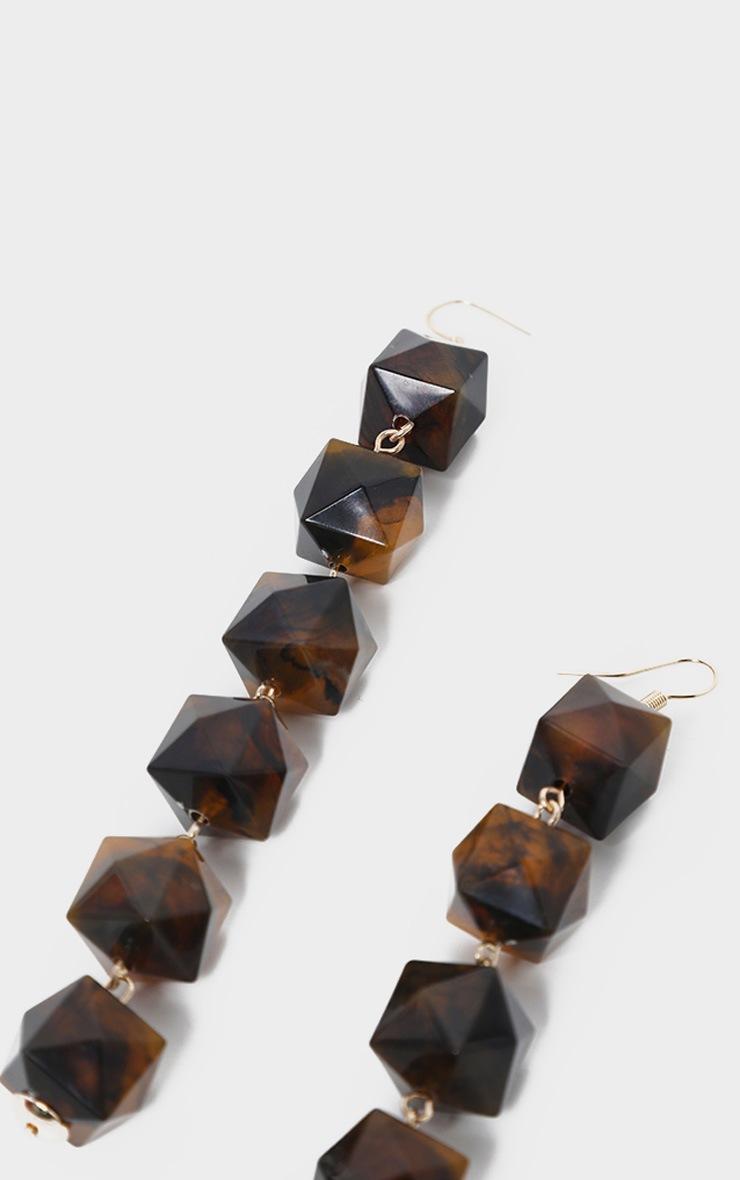 Brown Drop Beaded Earrings 3