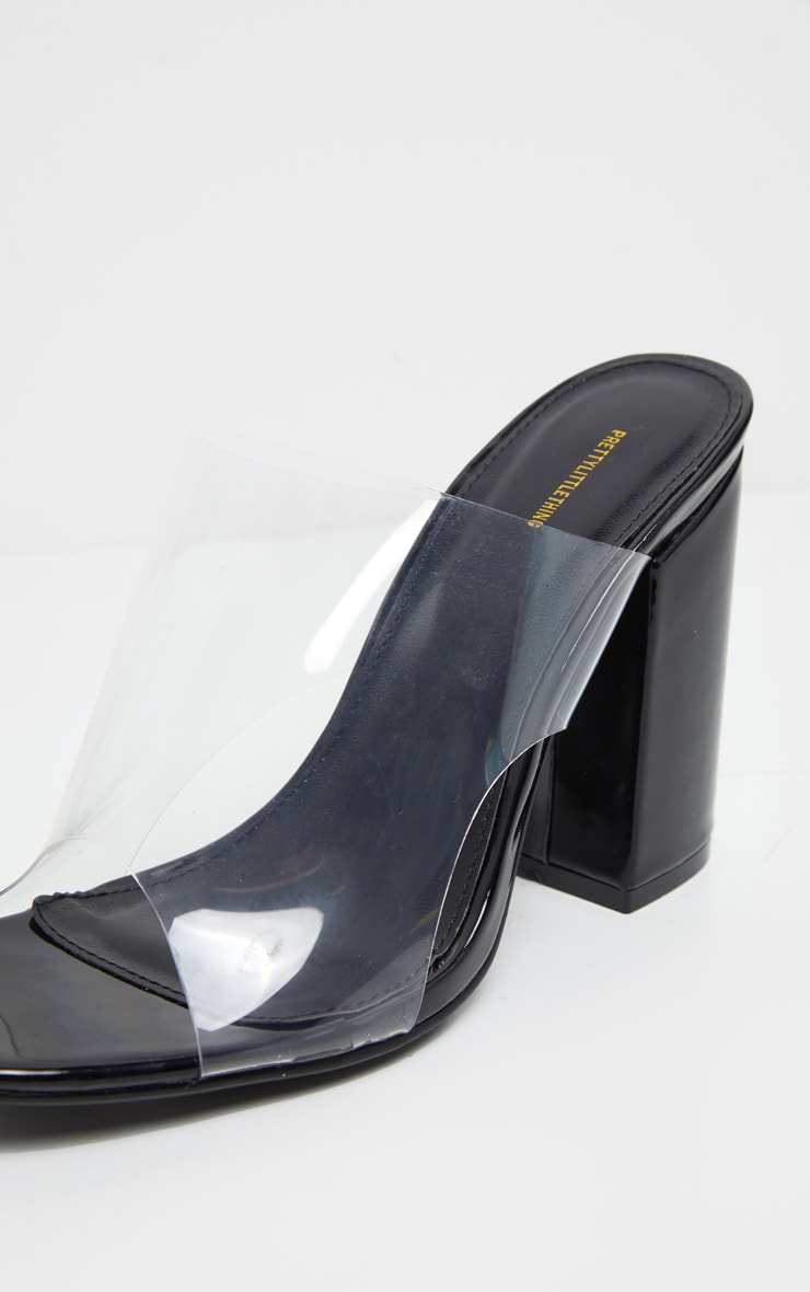 Black Square Toe Block Heel Clear Mules 4