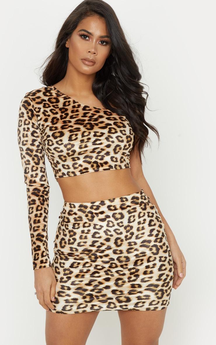 Tan Velvet Leopard Print One Shoulder Top 1
