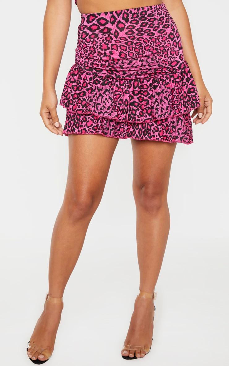 Petite Pink Leopard Frill Detail Mini Skirt  2