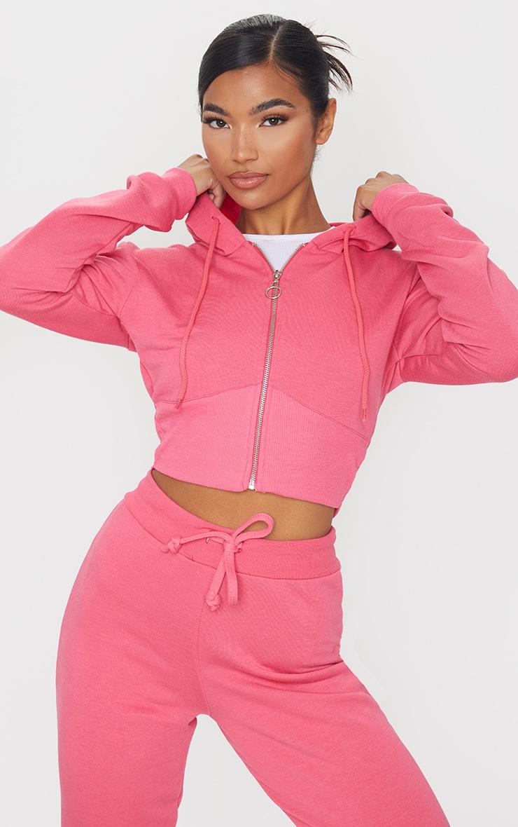 Hot Pink Zip Up Bustier Hoodie 1