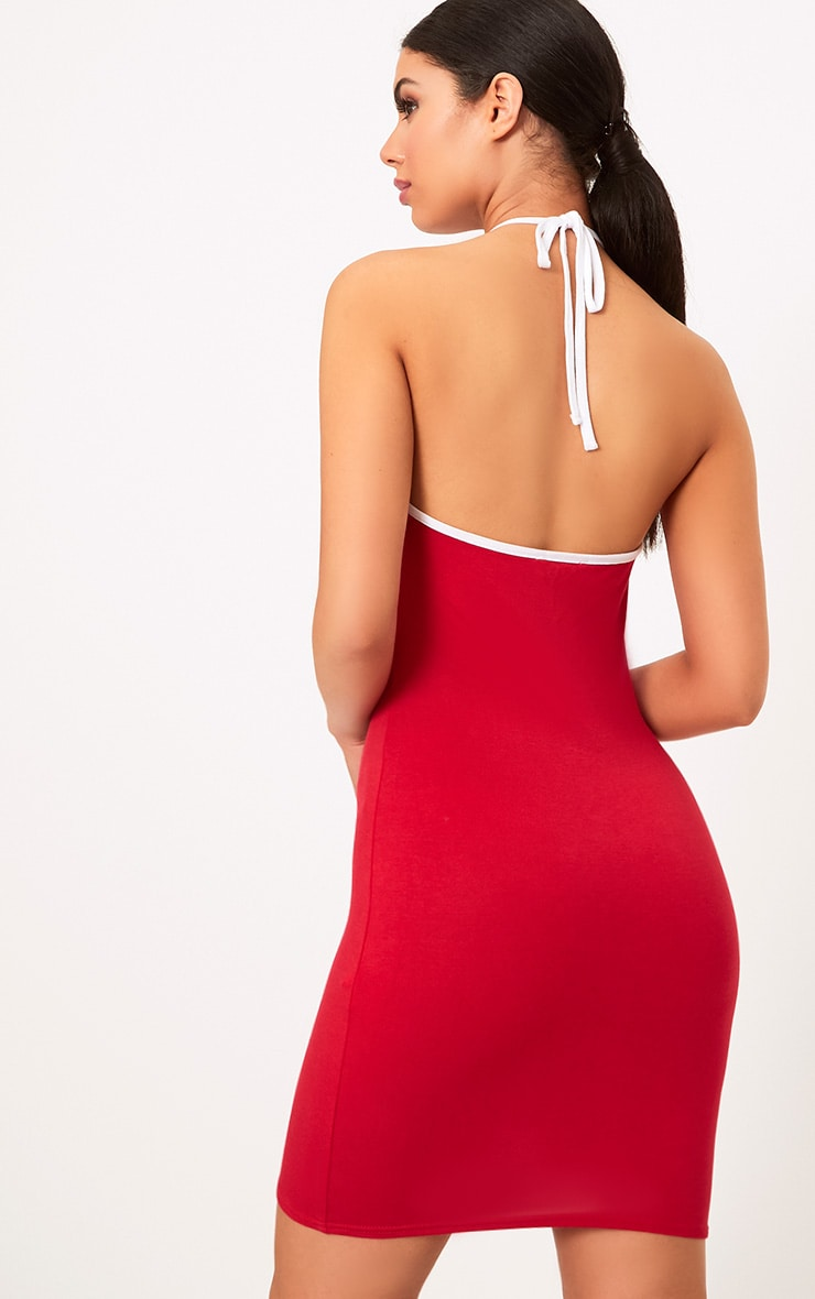 Red Los Angeles Strappy Halter Bodycon Dress 2