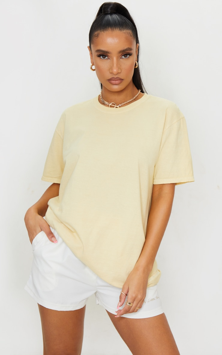 Pale Yellow Washed Oversized T Shirt 1