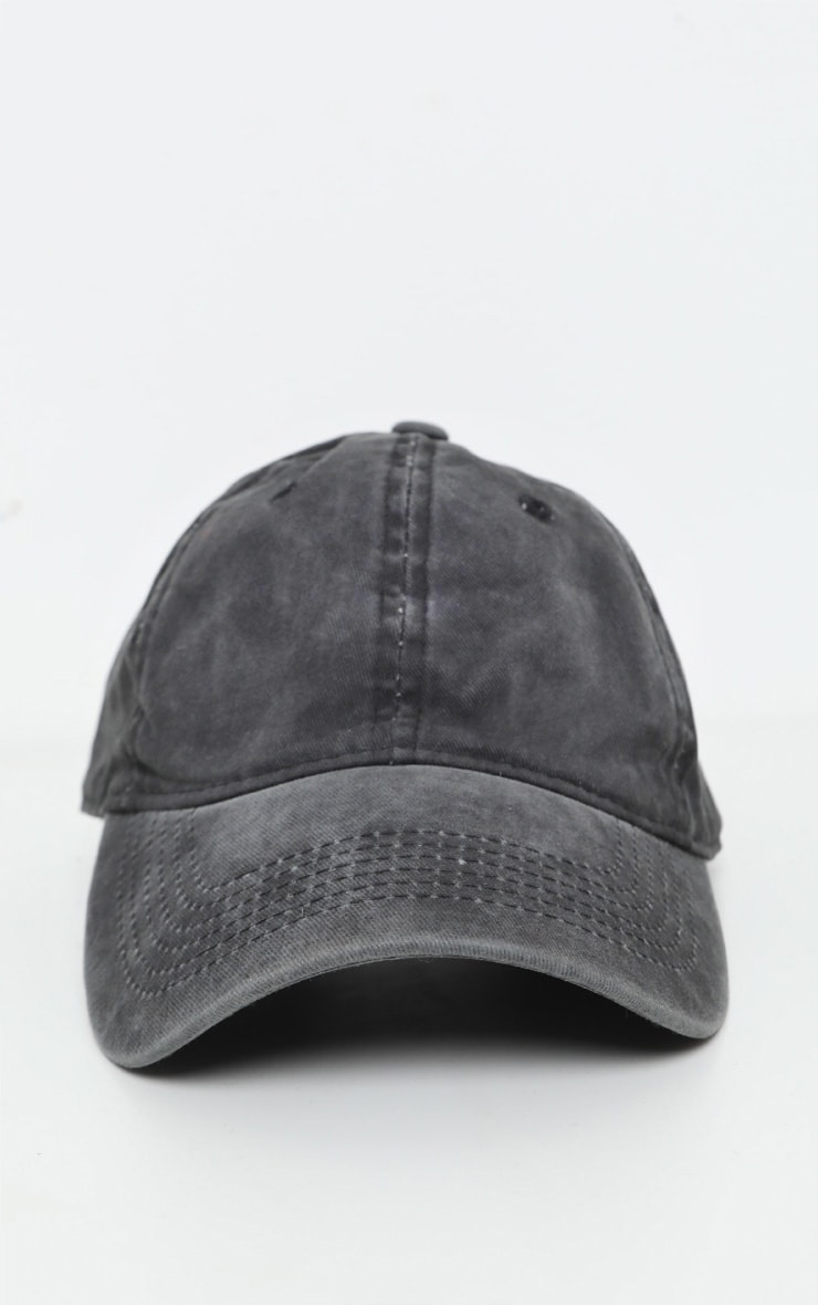 Black Distressed Fabric Cap   3