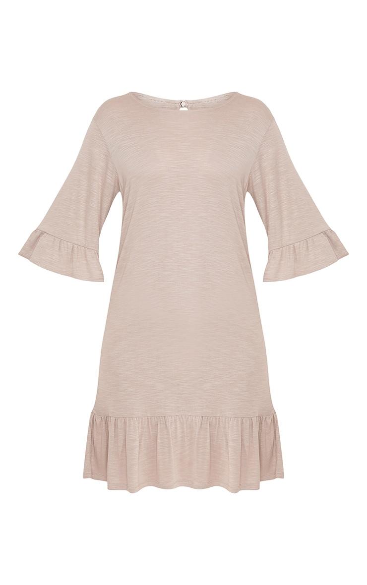Manuliaa Taupe Jersey Frill Hem Shift Dress 3