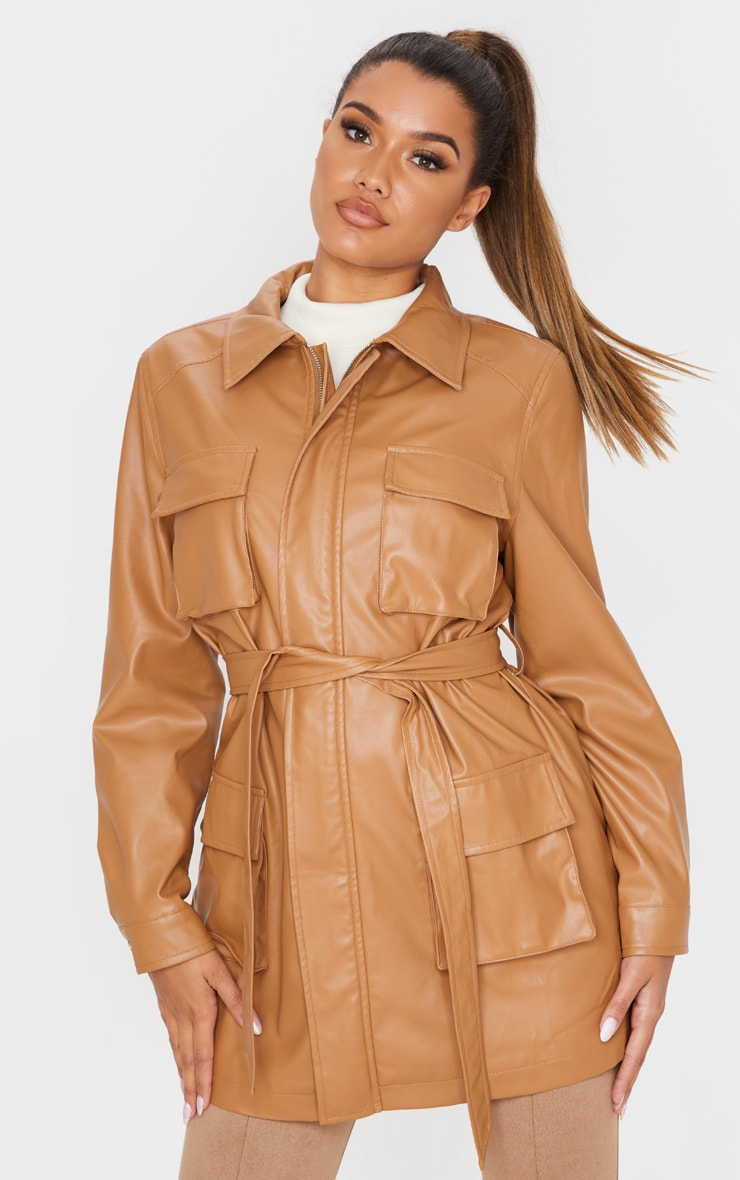 Camel Faux Leather Pocket Oversized Jacket  1