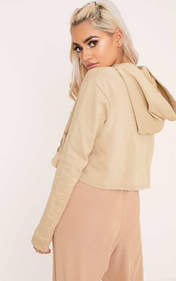 Imogen Taupe Lace Up Detail Cropped Hoodie 2