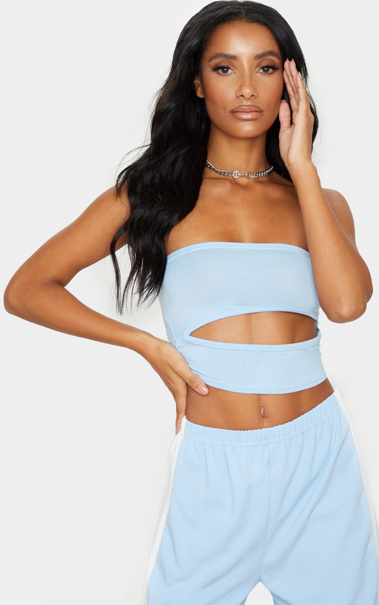 Baby Blue Jersey Bandeau Cut Out Crop Top 1