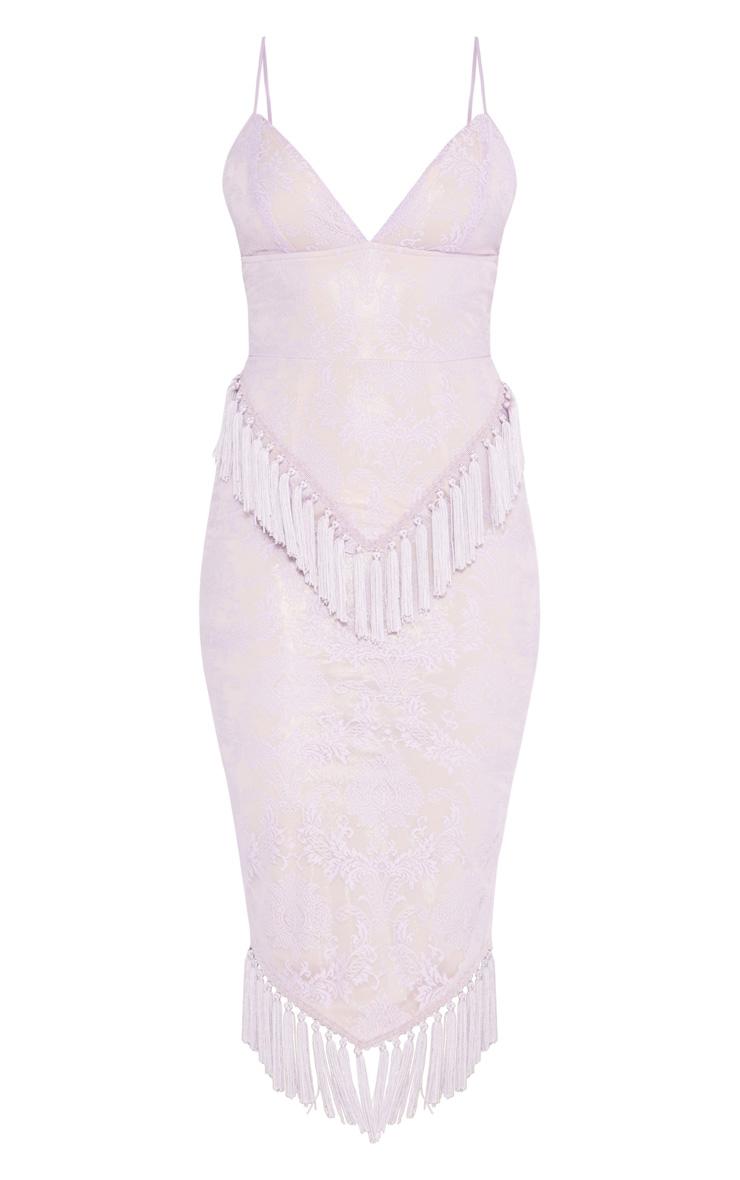 Pastel Lilac Lace Tassel Trim Plunge Midi Dress 3