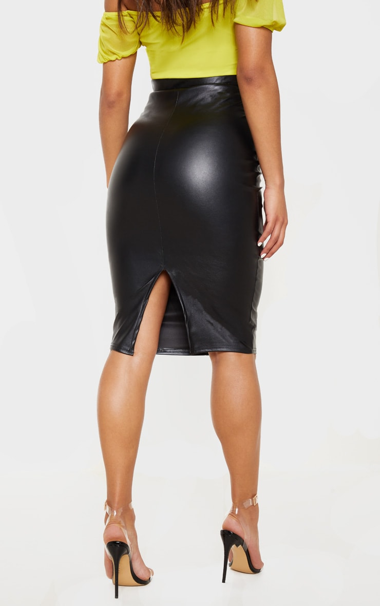 Eva Black Faux Leather Panel Midi Skirt 4