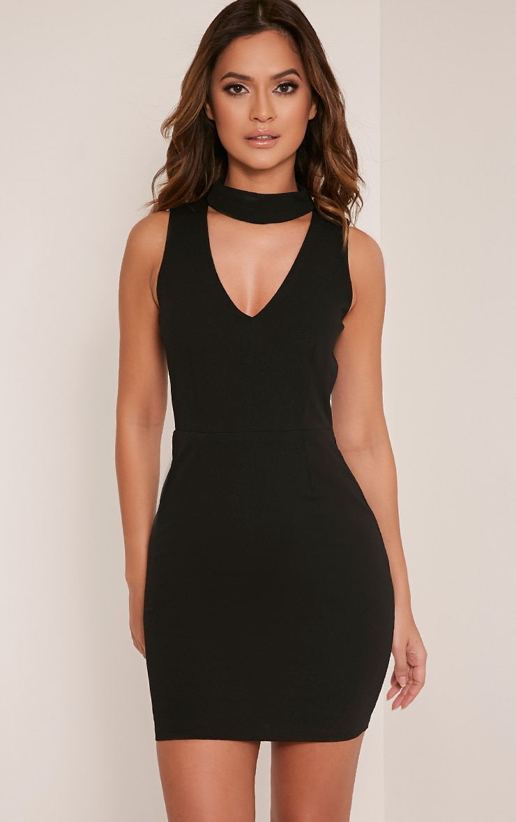 Rosia Black Choker Neck Bodycon Dress 1