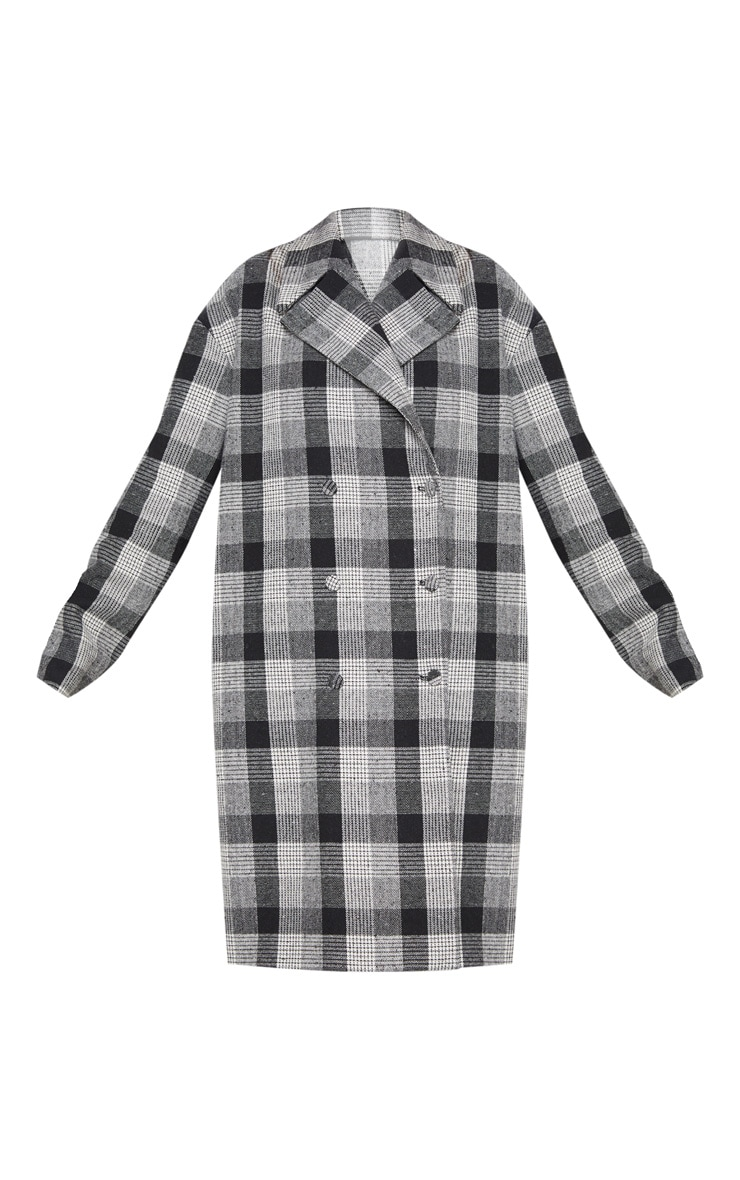 Grey Checked Oversized Coat  3