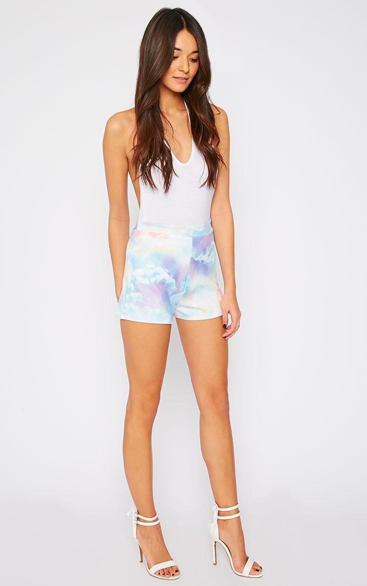 Xena Cloud Print Loose Fit Mini Shorts 5