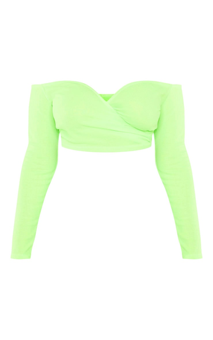 Shape Neon Lime Wrap Bardot Ribbed Crop Top 3