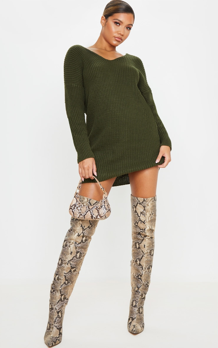 Khaki Twist Back Sweater Dress